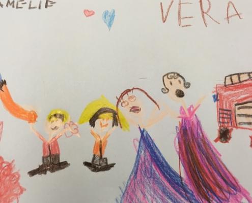 Der Besuch bei der Feuerwehr - gemat von Vera und Angelika